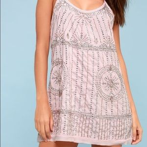 Free people light pink bedazzled dress